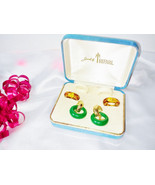 Trifari Signed Gold Interchangeable Earring Set Vintage 3 Multi Color Ho... - $145.00