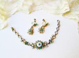 Juliana Bracelet Earrings Set Vintage Aquamarine & White Crystals MOP Fl... - $65.00