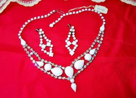 Juliana White Milk Glass & Rhinestones Choker Necklace Earrings Bridal S... - $130.00
