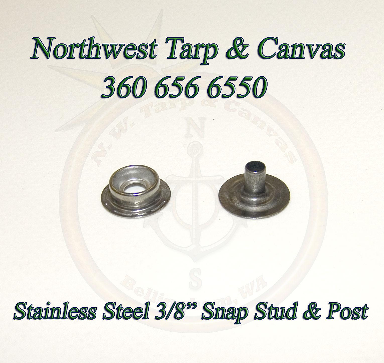 Stainless Steel Snap Fastener Stud & Eyelet, Line 24, Marine Grade, 50 Pc. Set