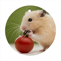 Cute Tiny Hamster Round Porcelain Ornament - Holiday Seasons - $7.71