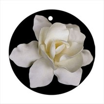 Gardenia Flowers Round Porcelain Ornament - Holiday Seasons - $7.71