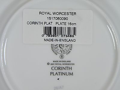Royal Worcester Corinth Platinum Bread & Butter Plates Set of 3 Made in England image 2