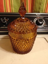 Fenton Amber Glass Candy Dish Hobnail Diamond Quilted Gorgeous Piece (rc3) - $46.74