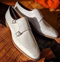 Handmade Men's White Leather Crocodile Texture Double Monk Strap Dress Shoes image 1