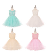 Simulated Pearls Beaded on Lace Bodice and Tulle Skirt Flower Girl Dress - $55.95