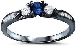 925 Sterling Silver Black Tone Rhodium Plated Ring, Round Simulated Blu... - $40.80