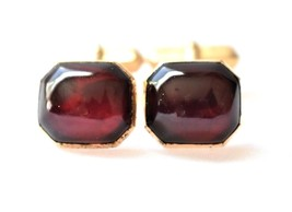 VTG Swank Red Cabochon Glass Cufflinks Signed Men's Formal Wear Accessories - $18.58