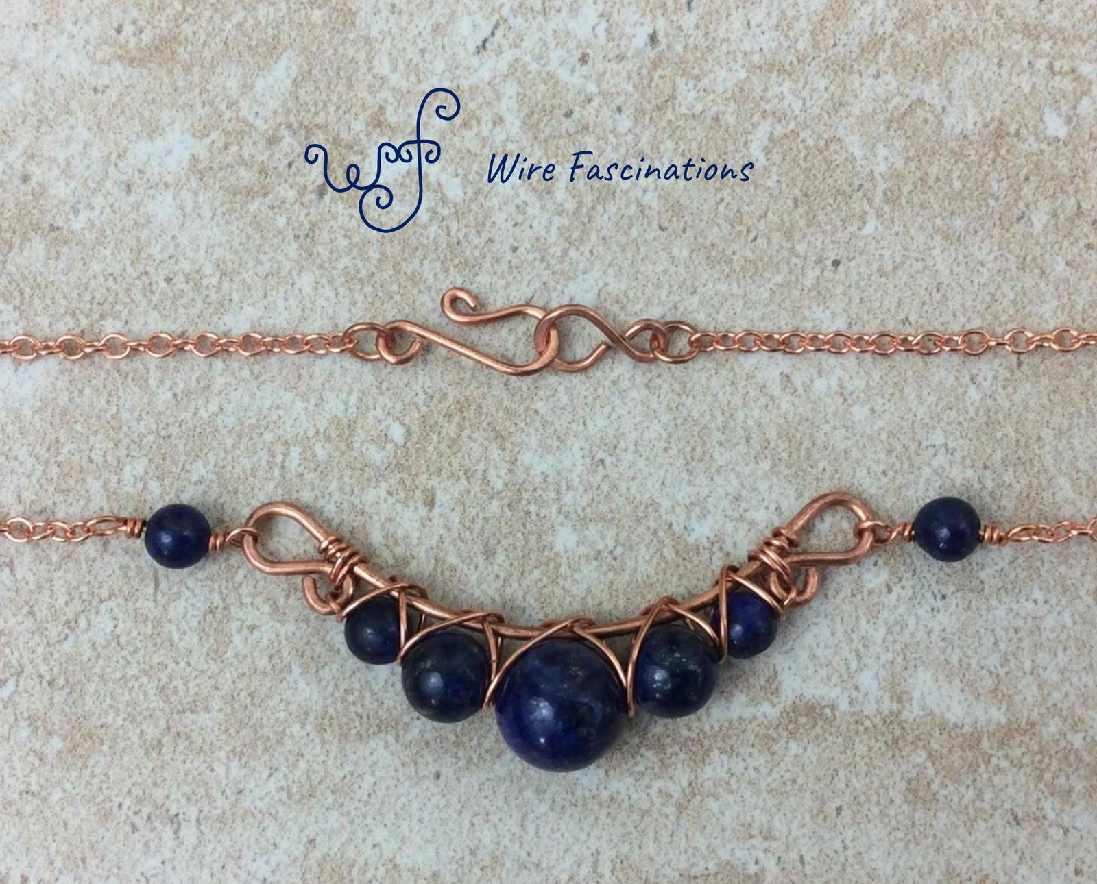 Handmade lapis lazuli necklace: criss cross copper wire wrapped image 7
