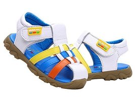 Boy's Closed Toe Beach Sandals Breathable Summer Shoes WHITE, Feet Length 13CM