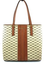 AUTHENTIC NEW NWT MICHAEL KORS MORGAN CENTER STRIPE BROWN MED TOTE - $108.00