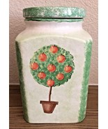 Handmade in ITALY for STARBUCKS green apple tree canister container - $24.74