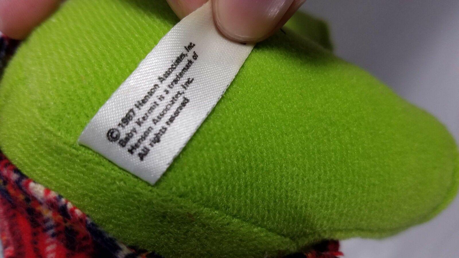 1987 Plush Christmas Baby Kermit Jim Hensen Muppets Sesame Street