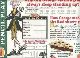 Burger King Placemat George Washington 1988 Cherry Pie Pencil Play - $11.88
