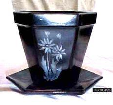 L.E. Smith Ebony Black Amethyst Glass PlanterVase AND Under Saucer, Gray Flower - $28.57