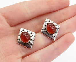 925 Silver - Vintage Cabochon Carnelian Circle Pattern Drop Earrings - E... - $29.00
