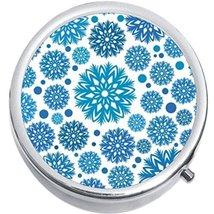 Snowflake Pattern Medicine Vitamin Compact Pill Box - $9.78
