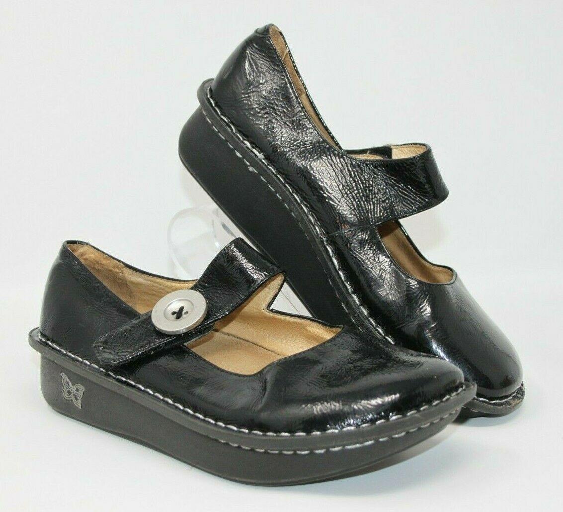 Alegria Size 38 Paloma Black Silver Design Mary Jane Leather Comfort Nurse Shoes