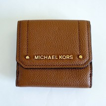 NWT Michael Kors Hayes Medium Trifold Coin Case Leather Wallet Brown (Lu... - $33.65