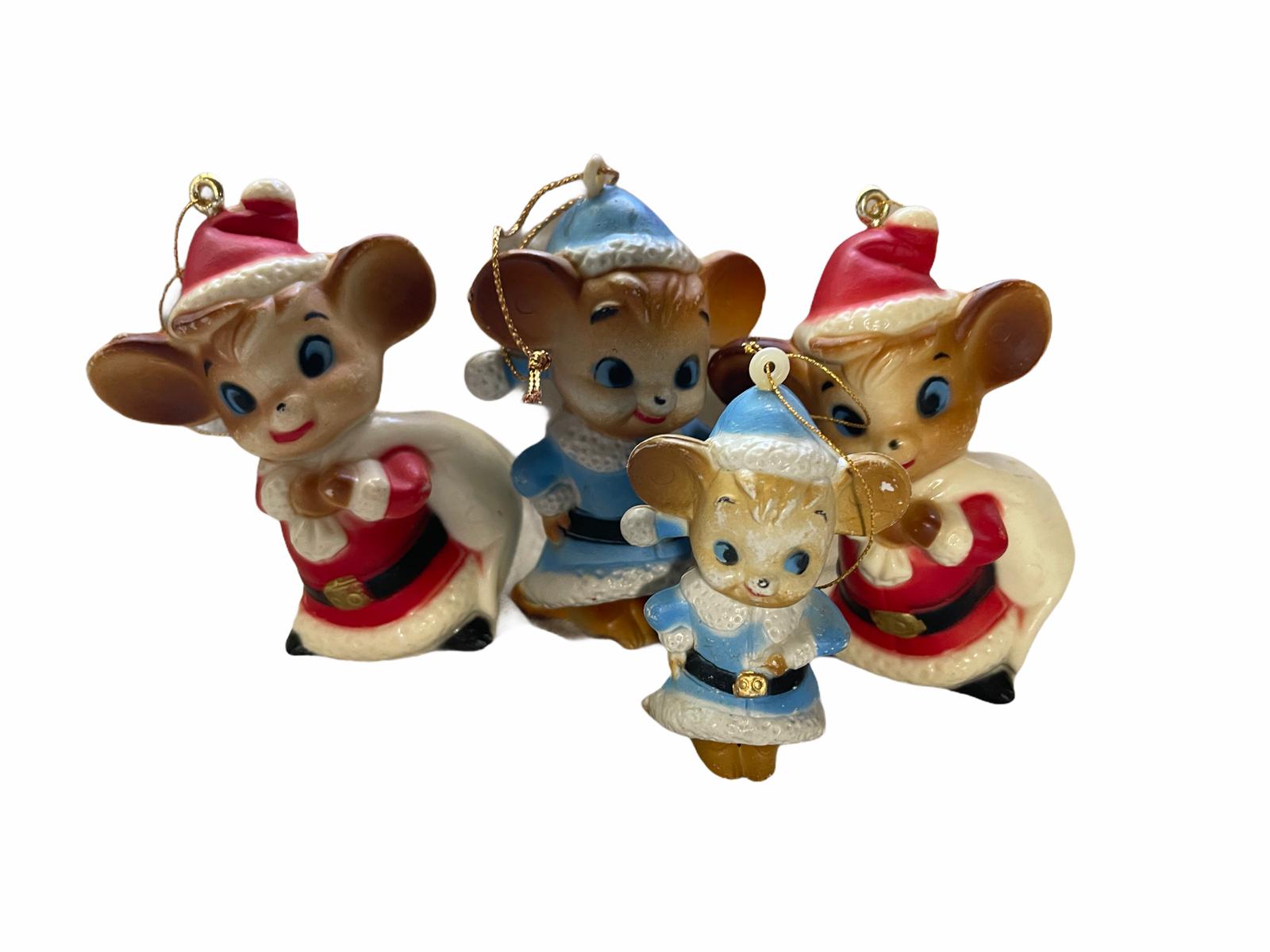 Vintage Mice Santa Set of 4 Homco Bisque Porcelain Christmas Tree Ornaments - $29.99