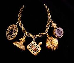 Victorian Fob bracelet / vintage Charm Bracelet / Medieval Fob / rhinestone - $265.00