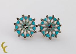 Navajo Native Américain .925 Argent Sterling & Turquoise Roue Boucles D'... - $71.80