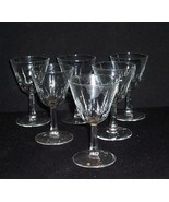 """6 Vintage Clear Glass Stemmed Wine/Cocktail Bar Glasses 4 oz 5"""" - $18.00"""