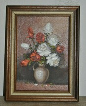 Vintage Oil Painting White / Red Roses In A Vase On A Table Signed Rocco - $125.00