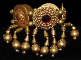 Vintage Bracelet Gold Tone Stretch Ruby Red Rhinestones 1980S Bling - $13.20