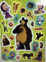 4 Sheets (100 Stickers) Sticker Green Random masha and Bear (7.8-5.5 inch) Kids image 3