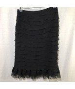 Cartise Skirt Women Size 6 Cocktail Midi Tiered Ruffle Formal Chiffon Bl... - $38.99