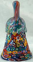 Murano Art Glass Bell KB Italy Millefiori Bright Vivid Colors drip handle - $39.99