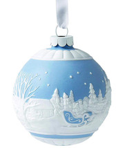 Wedgwood Sleigh Ride Christmas Ball Ornament Blue & White Relief New - £48.54 GBP