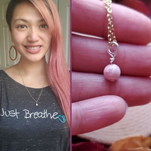 Rhodochrosite Necklace, Reiki Infused, Pink, Healing Stone, Celestial Je... - $18.88