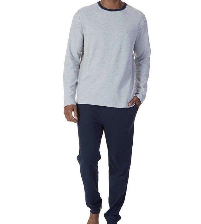 Nautica Men's Sleepwear Long Sleeve Top and Pant Set, Navy w/ Gray, Sz L NWT - $43.44