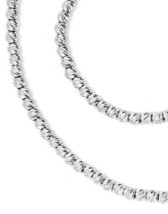 """18K WHITE GOLD CHAIN FINELY WORKED SPHERES 2 MM DIAMOND CUT BALLS, 20"""", 50 CM image 2"""