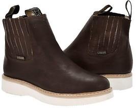 Mens Brown Tough Durable Rubber Sole Anti Slip Boots Shoes Elastic - £35.15 GBP