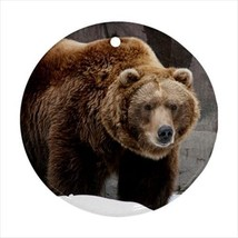 Grizzly Bear Round Porcelain Ornament - Holiday Seasons - $7.71