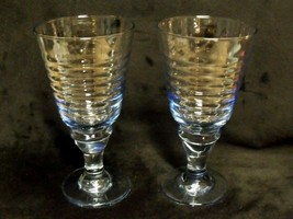 "Rare Pair / Rare Pattern 7"" Tall Heisey Light Blue Glass Ribbed Goblets - $148.50"