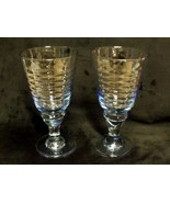 """RARE PAIR / RARE PATTERN 7"""" TALL HEISEY LIGHT BLUE GLASS RIBBED GOBLETS - $148.50"""