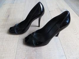 Stuart Weitzman Sexy Peep Toe Black Patent Leather Pumps Size 7.5  - $110.12