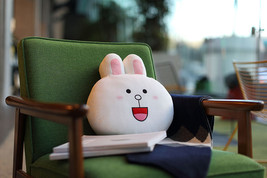"LINE Friends Character White Cony 12"" Face Cushion Doll 30cm Home Deco B... - €29,65 EUR"