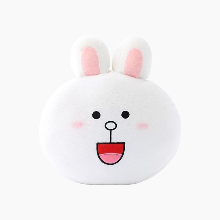 """LINE Friends Character White Cony 12"""" Face Cushion Doll 30cm Home Deco Bedding"""