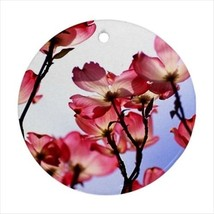 Pink Magnolia Flowers Round Porcelain Ornament - Holiday Seasons - $7.71
