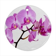 Pink Orchid Round Porcelain Ornament - Holiday Seasons - $7.71