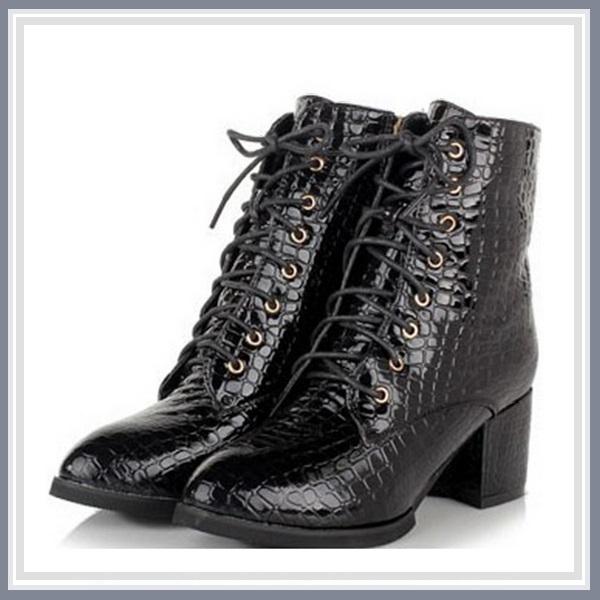 Black Gothic Lace Up Zip Up Embossed Snakeskin PU Leather Block Heel Ankle Boot