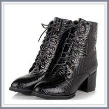 Black Gothic Lace Up Zip Up Embossed Snakeskin PU Leather Block Heel Ank... - ₹7,913.76 INR