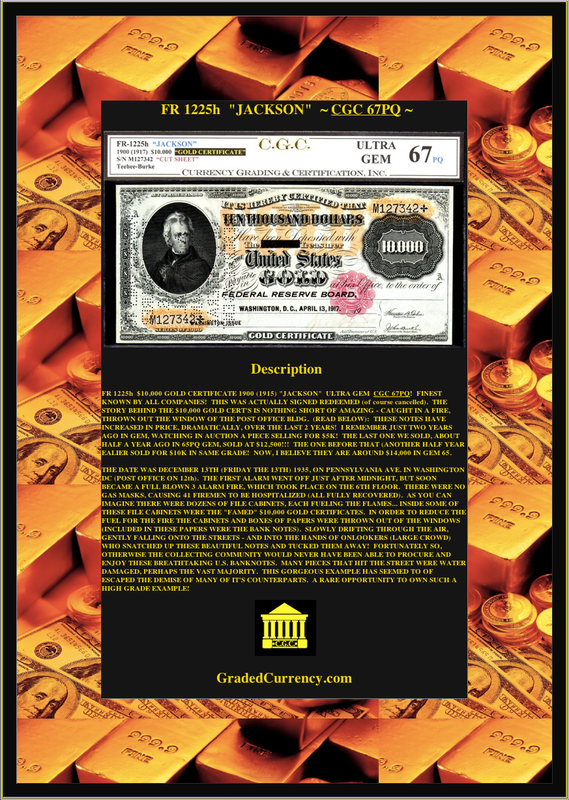 """FR 1225h """"JACKSON"""" 1900 (1917) $10,000 GOLD CERTIFICATE CGC 67PQ! FINEST KNOWN!"""