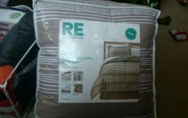 Room Essentials Brown Stripes Twin Reversible 6 Piece  Bedding Set  - $59.50