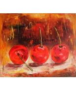 Cherries Original Oil Painting Red Fruits Kitchen Food Art Impressionism - $85.00